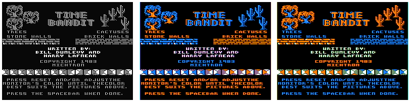 Time Bandit, Dunlevy & Lafnear, 1983 in different artifact modes